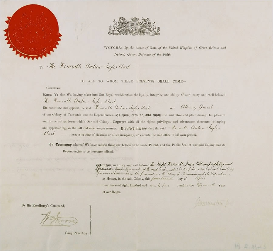photograph of letters patent appointing andrew inglis