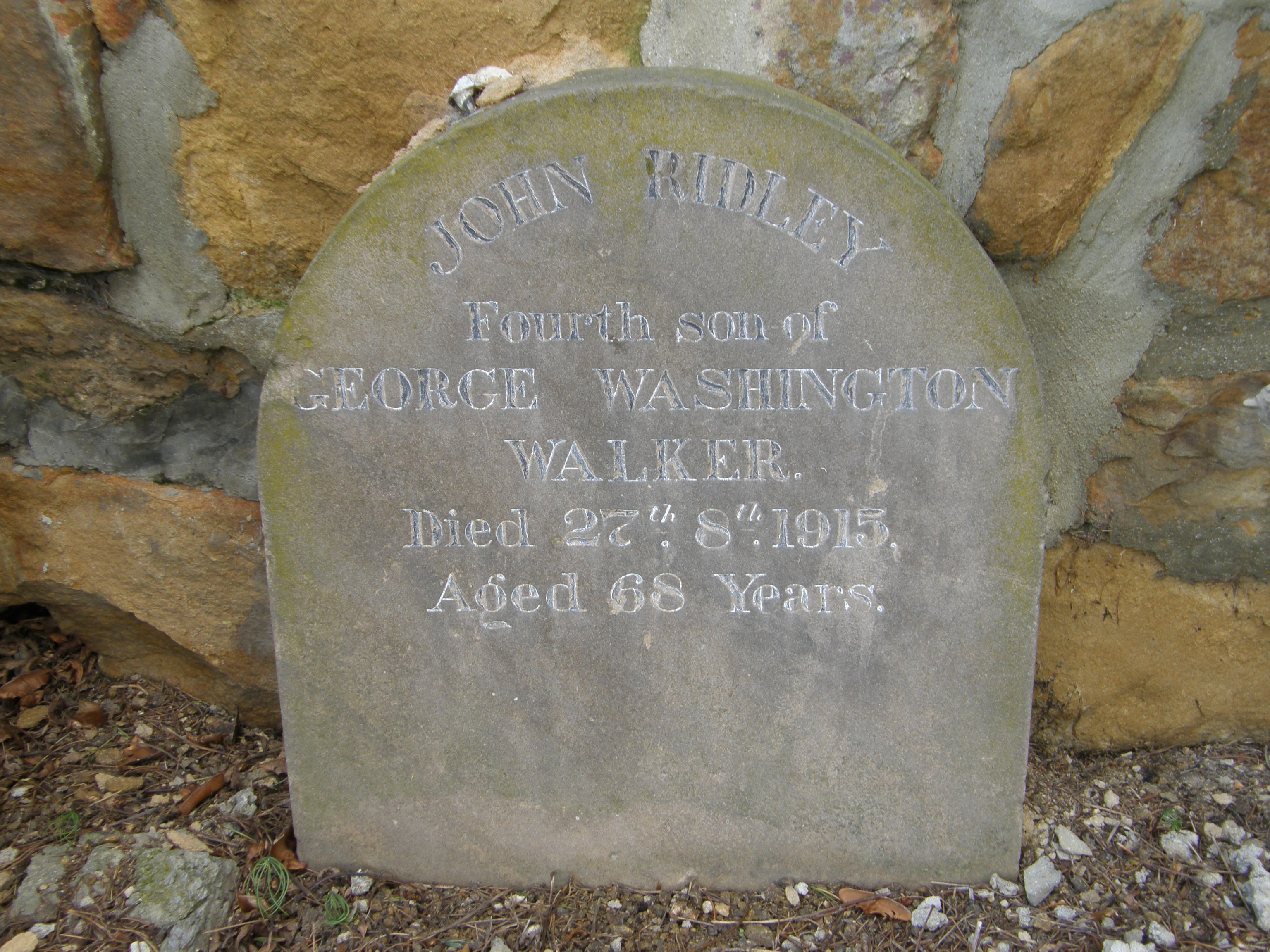 Photograph of gravestone of John Ridley Walker, West Hobart, Tasmania