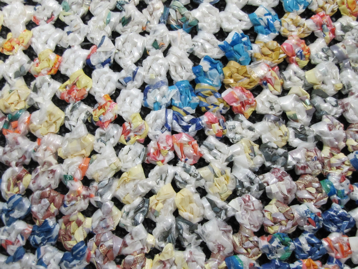 Photographs Of Outdoor Rug Crocheted From Plastic Bags