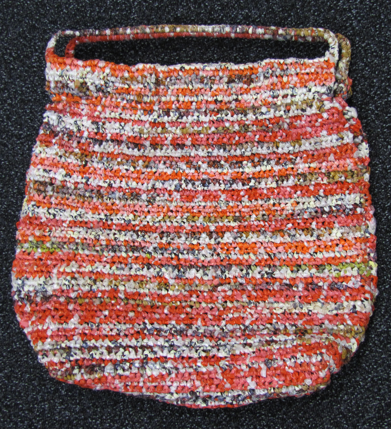Photographs Of Coloured Bag Crocheted By Marjorie Bligh From Plastic