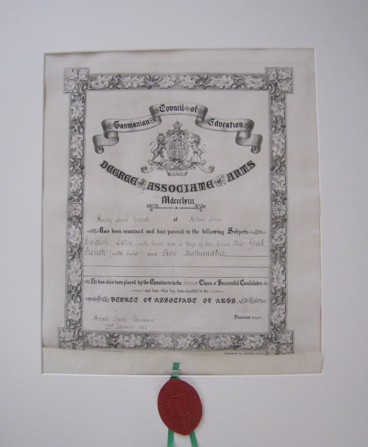 Degree of Associate of Arts certificate conferred by the Tasmanian Council of Education in Hobart Town 1863
