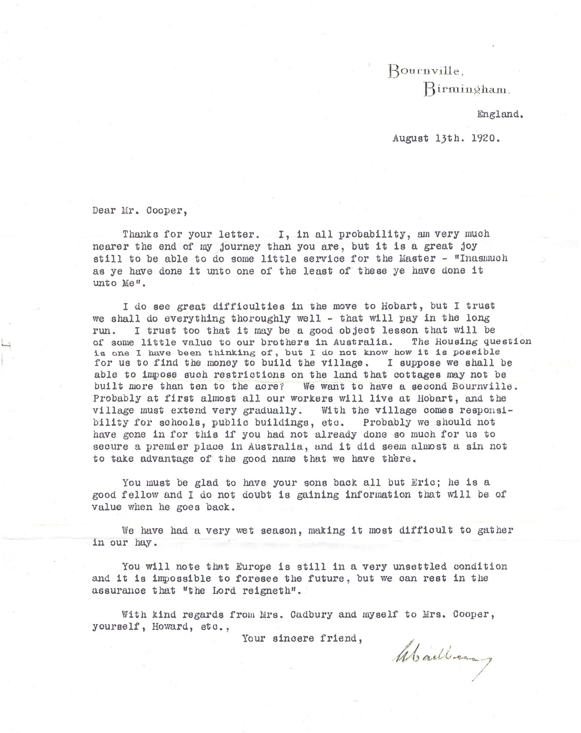 Letter From George Cadbury In England To William Cooper In