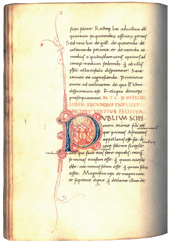 manuscript  cicero  de officiis  1465